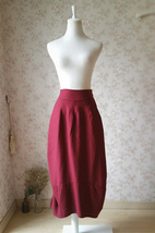 Women Burgundy Linen Skirt Ankle length High Waisted Asymmetric Skirts NWT - $39.95