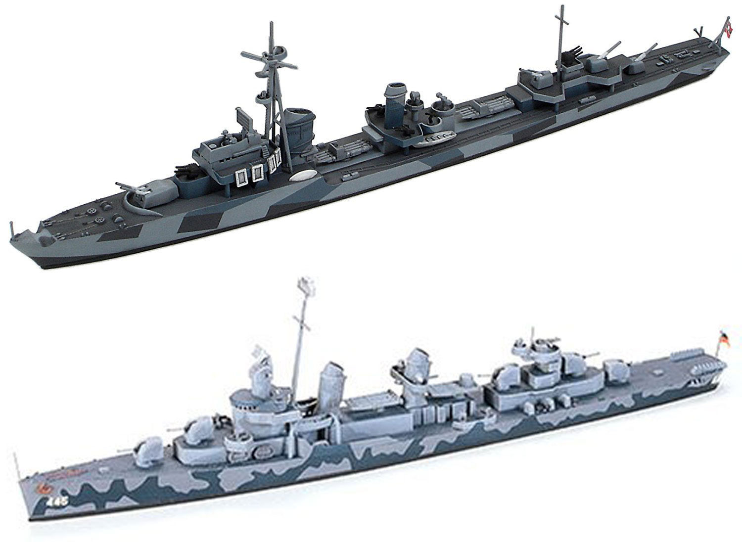 Primary image for 2 Tamiya Models - US and German Destroyers – DD445 Fletcher and German Z Class