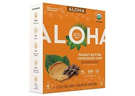 Aloha Peanut Butter Chocolate Chip Plant-Based Protein Bars 1.9ozx4( tot... - $14.92
