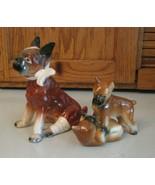 Vintage Boxer Dog Figurine Figure Injured Head & Leg PLUS Playful Pups C... - $35.63