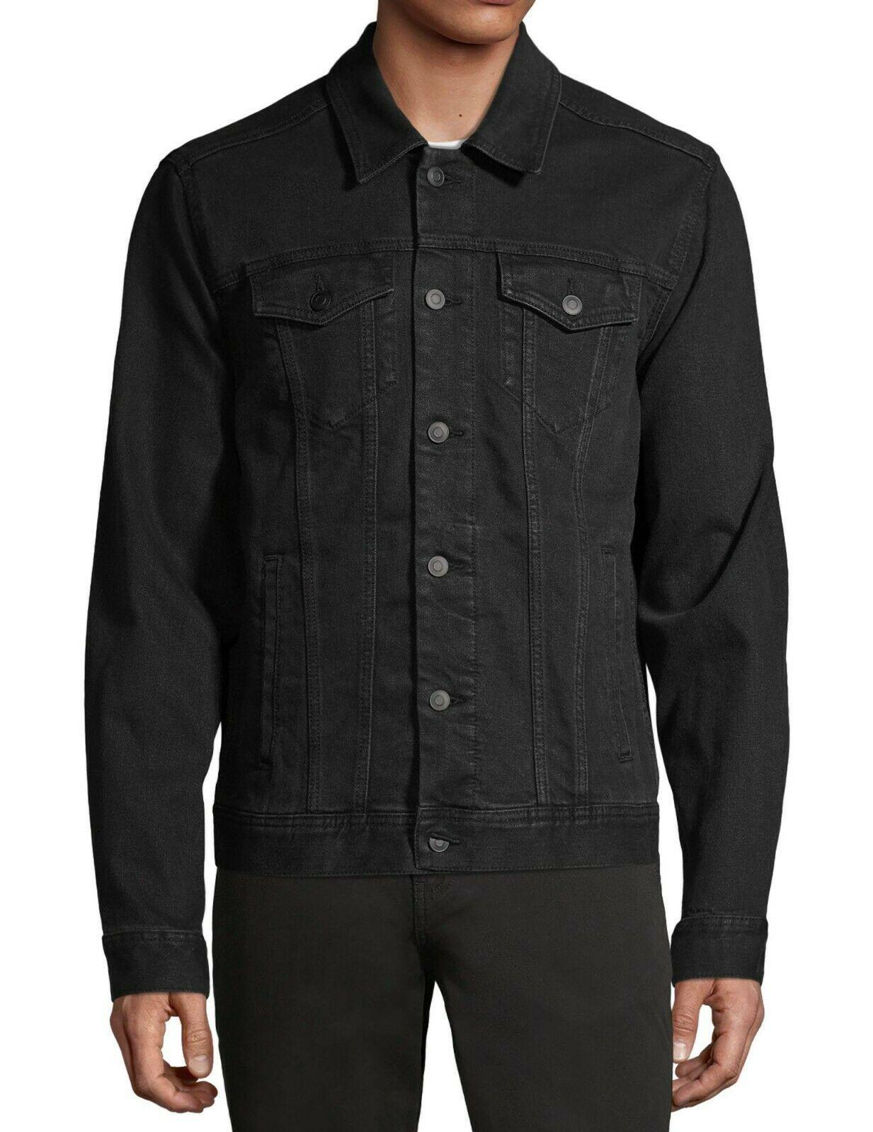 George Men's Classic Jean Button Flap Pockets Denim Trucker Jacket