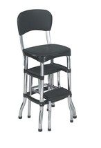 Counter Chair Step Stool Retro Black Vinyl Bar Combo Furniture Kitchen H... - $65.52