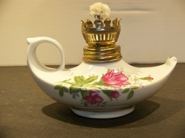 Vintage Miniature Oil Lamp Porcelain Ceramic Roses - $22.49