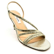 Nina New York Womens Sparkle Strappy Slingback Heels Sz 9M Silver Leather NEW - $29.69