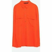xs ZARA BRIGHT RED GOLD BUTTON SHIRT POCKET FRONT VISCOSE SILKY SIDE SLI... - $36.76