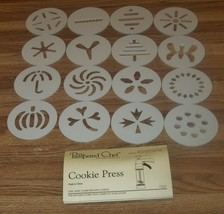 Pampered Chef 1525 Cookie Press Part/REPLACEMENT 16 COOKIE DISCS & RECIP... - $6.99