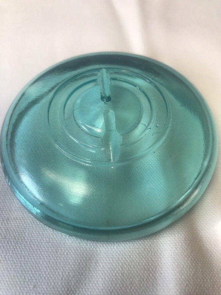 "Vtg Aqua Blue Glass Lid Wire Bail Closure Canning Mason Jar Regular Size 3 1/8"""