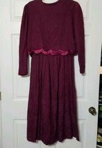 Karen Stevens Vintage Women's Modest Dress ~ Sz 12 ~ Maroon ~ Long ~ 2 p... - $34.64