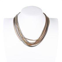 UNITED ELEGANCE Bold Multi Strand (TwoTone) Gold & Silver Tone Designer Necklace - $25.99
