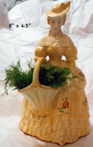 "Vtg. Porcelain Lady Figurine Holding Basket of Ferns! 8"" - $24.75"