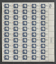 Antartica Treaty, 1961-1971,  Sheet of 8 cent s... - $7.50