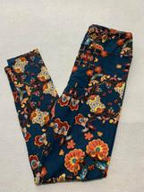 Lularoe OS One Size Teal Coral Orange Floral Vine Leggings - $12.99