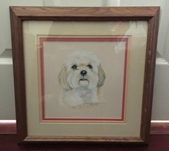 "Vintage 1993 Framed Signed 14"" x 14"" Dog Pet Drawing Color Sketch Pat Sp... - $79.99"