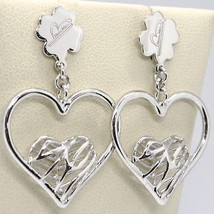 925 STERLING SILVER EARRINGS WORKED HEART FOUR LEAF CLOVER PENDANT, MARIA IELPO image 1