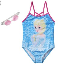 Disney Frozen Elsa Princess Girls Swimsuit 4 - 6 One Piece With Goggles NEW - $14.84