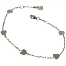Bracelet White Gold 18K 750 Hearts, Plates, Heart, Length 14-16 cm ,Italy image 1