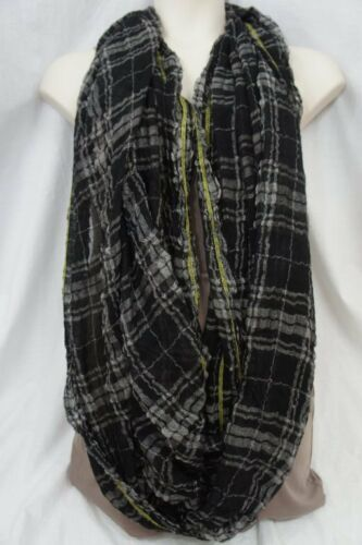 Echo Design Infinity Loop Black Yellow Plaid Viscose Blend Weave Cowl Scarf   image 2
