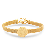 PIATELLA Ladies 18K Gold Plated Stainless Steel Lord's prayer mesh bracelet - $13.99