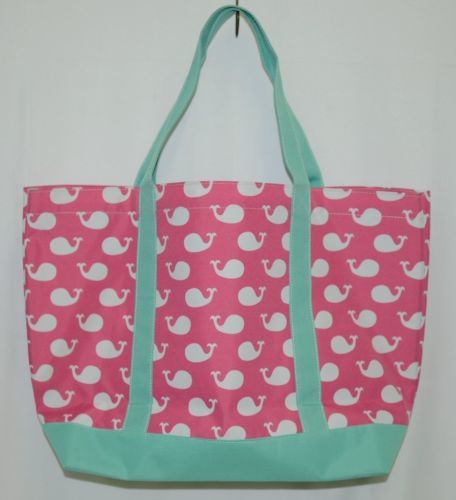 WB M730WHALES Whales Tote Bag Polyester Colors Pink White Mint