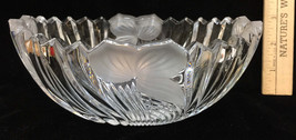Mikasa Crystal Glass Bowl Frosted Flower Leaf Ribbed Sawtooth Edge Oval 7x5 - $12.86