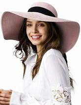 Womens Sun Straw Hat Wide Brim UPF 50 Summer Hat Foldable Roll up Floppy... - $39.99