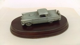 1:43 1956 Ford Thunderbird Pewter Car With Wood Display Stand Made In En... - $16.72