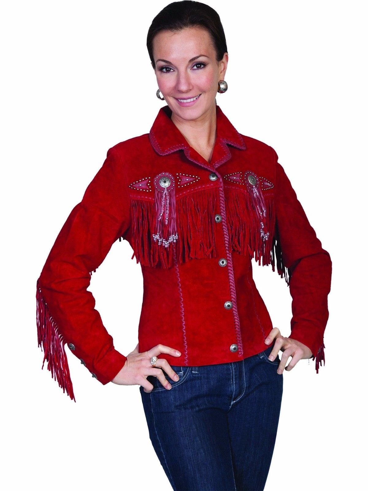 QASTAN Women's New Red Fringes / Concho Suede Cow Leather Jacket WWJ14E