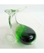 Whale Glass Paperweight Figurine Green Clear Glass Vintage - $29.69
