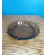 """PYREX #209 SMOKE AMBER BROWN PIE PLATE 9"""" GLASS PAN FLAT RIM - $8.90"""