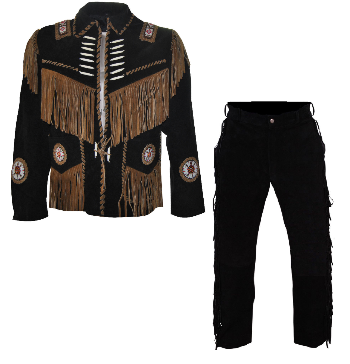 Primary image for Men's New Native American Buckskin Black Suede Leather Fringes Shirt & Pant WS24