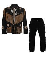 Men's New Native American Buckskin Black Suede Leather Fringes Shirt & P... - $197.10+