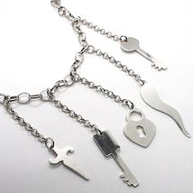 925 Silver Necklace Oval Chain, Key, Lock, Horn, Sword Pendants image 3