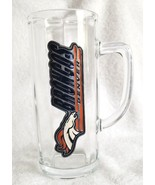 Vintage HEAVY Glass Broncos Denver Beer Glass Stein With Handle  - $19.95