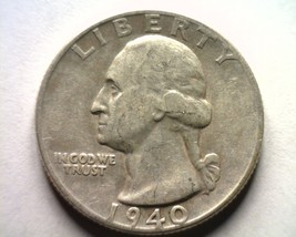 1940 WASHINGTON QUARTER EXTRA FINE / ABOUT UNCIRCULATED XF/AU NICE COIN ... - $12.00