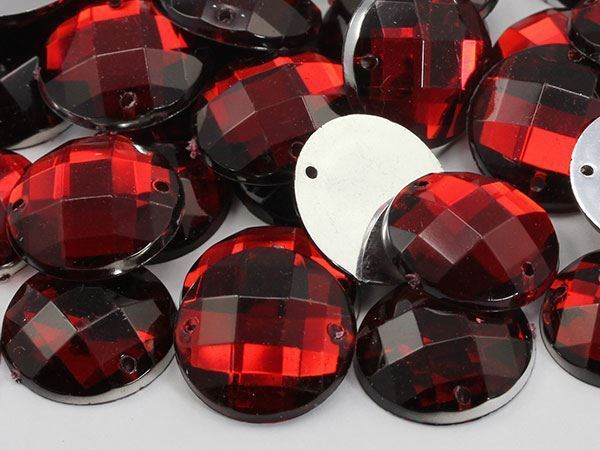 16mm Red Ruby CH17 Round Flat Back Sew On Gems For Craft 40 PCS