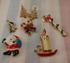 Vintage Christmas Pins Brooch Lot of 5 + 1 Pair Christmas Tree Earrings - $7.08