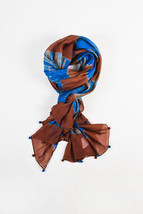 Gerard Darel Brown Blue Cotton Silk Sheer Batik Print Rectangle Scarf - $81.92 CAD