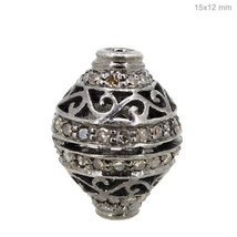 Spacer Pave Diamond .925 Sterling Silver Bead Finding Handmade Jewelry 1... - $107.53