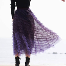 Purple Layered Tulle Midi Skirt A-line High Waisted Tulle Ruffle Skirt image 1