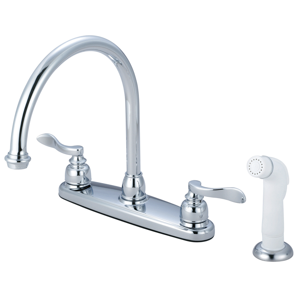 "Primary image for Nuwave French Double Handle 8"" Centerset Kitchen Faucet with White Sprayer"