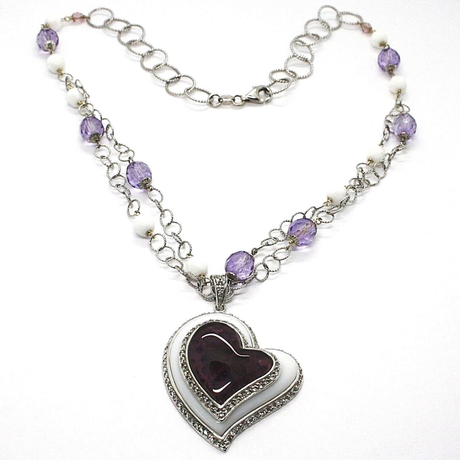 Necklace Silver 925, Amethyst, Agate White, Heart Pendant, Chain Two Row