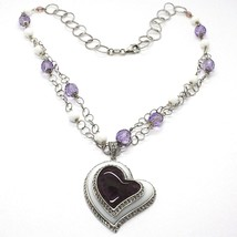 Necklace Silver 925, Amethyst, Agate White, Heart Pendant, Chain Two Row - $186.39
