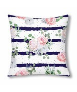"InterestPrint? Navy Striped Print With Bouquets Throw Pillow Cover 18""x ... - $18.63 CAD"