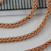 18K ROSE PINK GOLD CHAIN NECKLACE MINI EAR LINK 1.1 MM, 15.75 IN. MADE IN ITALY image 2