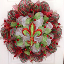 Christmas Fleur De Lis Deco Mesh Handmade Holiday Wreath - $92.99