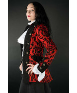 Crimson Red Brocade Gothic Victorian Jacket Steampunk Short Pirate Princ... - $96.41