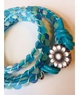 Leather Wrap Bracelet Handmade with Genuine Gemstones and Sterling Silve... - $18.00