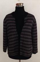 Studio Works SZ Medium Hook Front Cardigan Sweater Black Pink White Embr... - $7.81 CAD