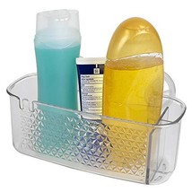 Home Basics Cubic Patterned Clear Plastic Shower Caddy with Suction Cups for Bat