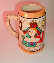 Vtg Queen King Cards BEER STEIN MUG HOME BAR DECOR MAN CAVE Poker player... - $19.97
